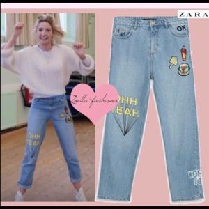 Zara I am Denim Collection Mom Fit Patch Jeans